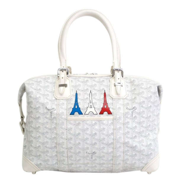 Goyard White Boeing 30 Eiffel Tower Boston Bag