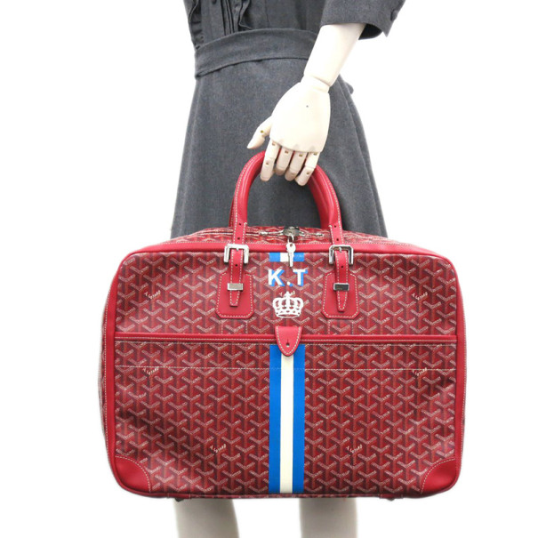 Goyard Red Canvas Travel Luggage