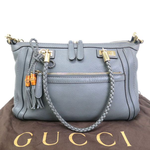 Gucci Grey Leather Tassle Tote