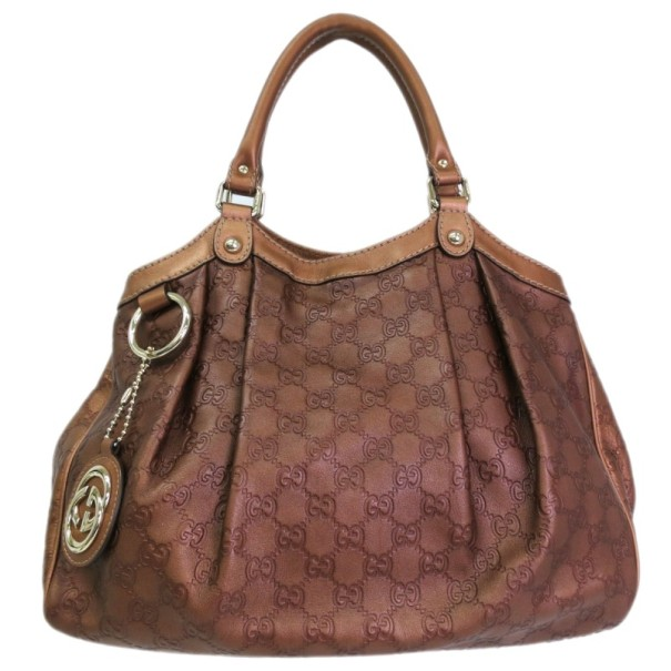Gucci Medium GG Leather Bronze Sukey Tote
