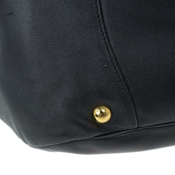 Prada Black Soft Leather Baltico Shoulder Bag