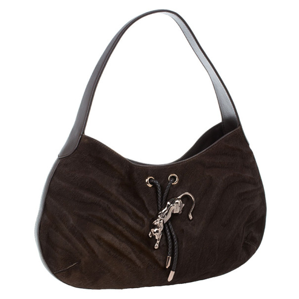 Cartier Brown Pony Hair Small Panthere de Cartier Bag