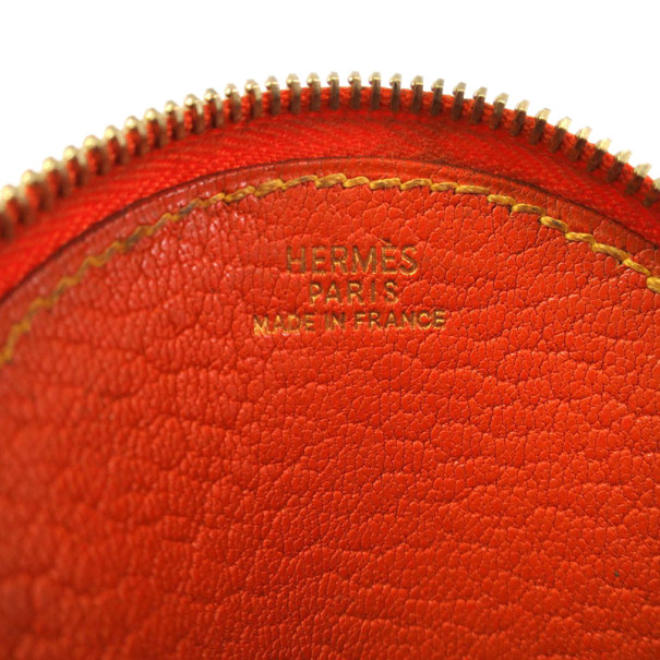Hermes Orange Chevre Leather Coin Case