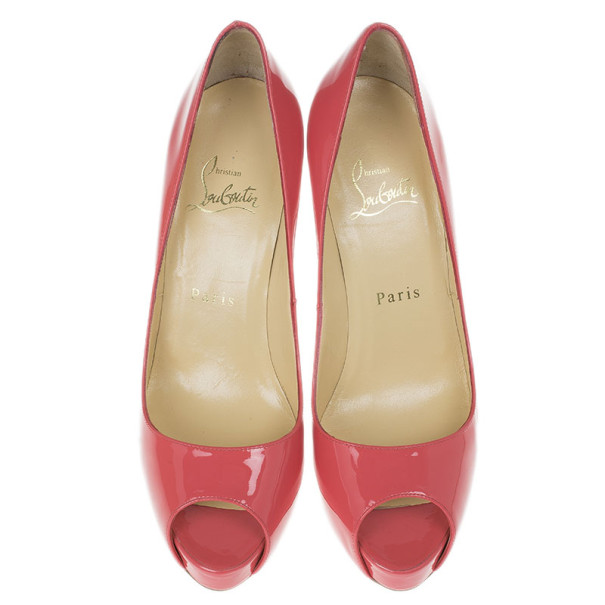 Christian Louboutin Pink Patent Very Prive Peep Toe Pumps Size 37