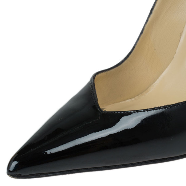 Christian Louboutin Black Patent Completa Pointed Toe Pumps Size 37