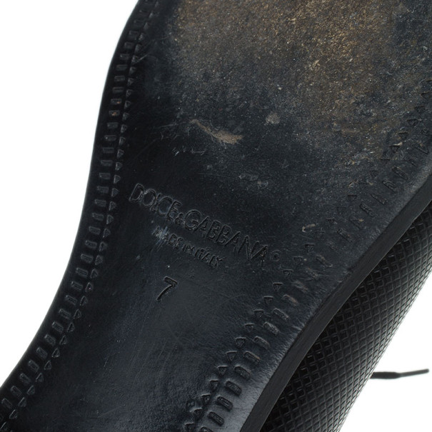Dolce and Gabbana Black Embossed Leather Pointed Toe Oxfords Size 41