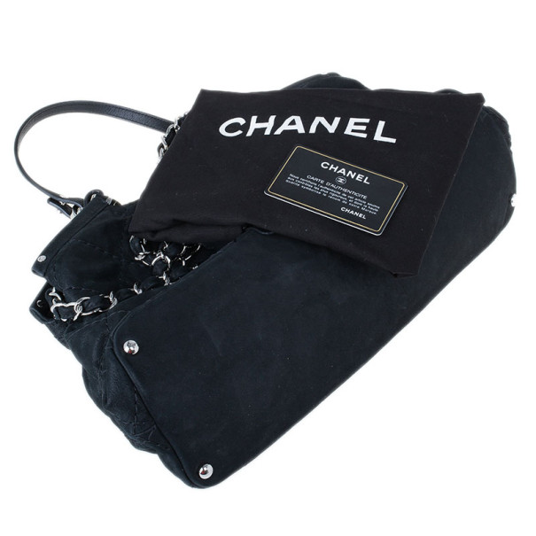 Chanel Black Leather Iridescent Sea Hit Tote