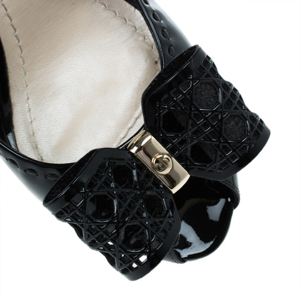 Dior Black Patent Leather Cannage Bow Detail 'Butterfly' Slingback Sandals Size 41