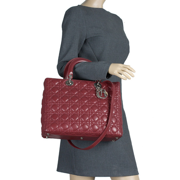 Dior Dark Red Leather Large Lady Dior