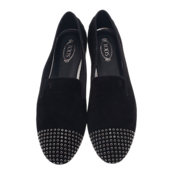 Tod's Black Suede Studded Smoking Slippers Size 39