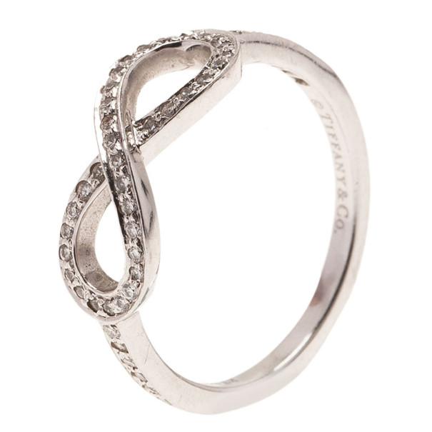 Tiffany & Co. Infinity Diamonds Platinum Ring Size 51