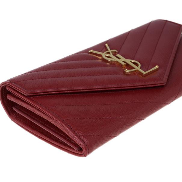 Saint Laurent Paris Red Leather Monogram Flap Wallet