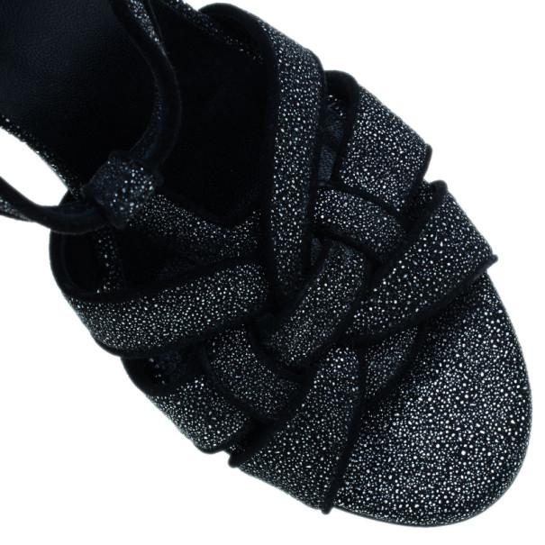 Saint Laurent Paris Black Embossed Leather Tribute Sandals Size 39