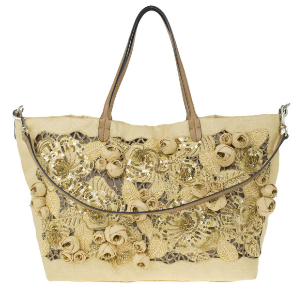 Valentino Beige Canvas Sequin Beaded Floral Applique Tote