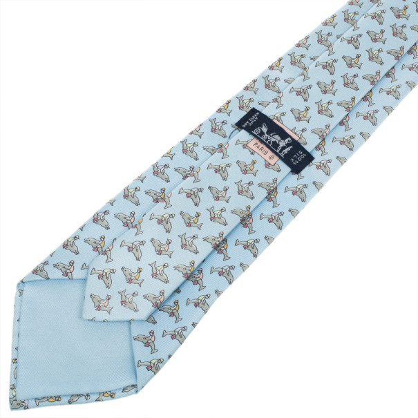 Hermes Blue Dolphin And Jockey Silk Faille Tie
