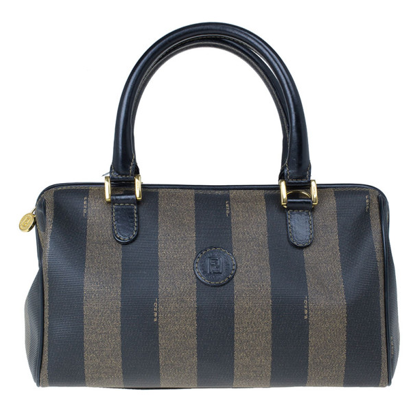 Fendi Black Striped Pequin Small Boston Bag