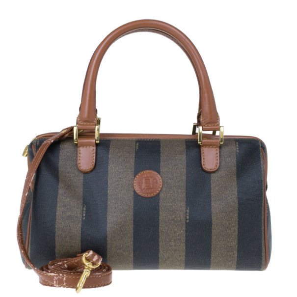 Fendi Brown Striped Pequin Canvas Vintage Boston Bag