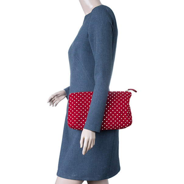 Dolce and Gabbana Red Fabric Polka Dot Clutch