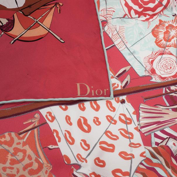 Dior Pink Printed Silk Scarf