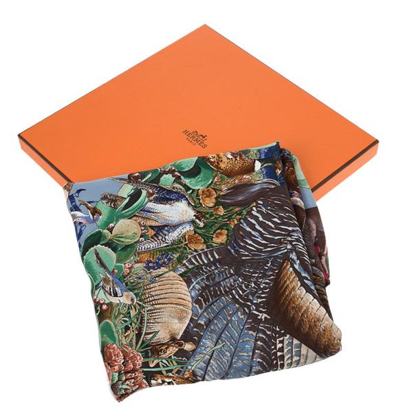 Hermes Faune Et Flore Du Texas Silk Square Scarf