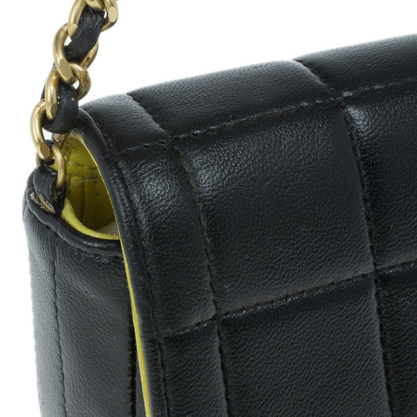 Chanel Black Leather Quilted Chocolate Bar East-West Flap Bag