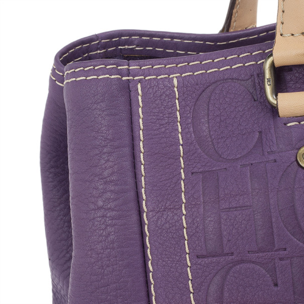Carolina Herrera Purple Leather Embossed Tote