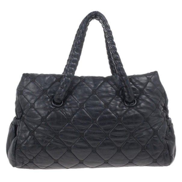 Chanel Black Quilted Bubble Jumbo Flap