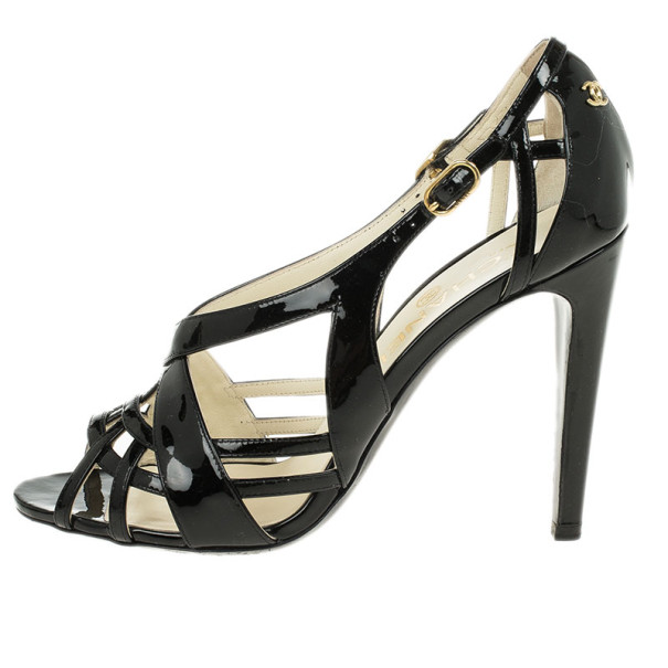 Chanel Black Patent Strappy Sandals Size 37.5