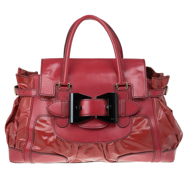 Gucci Red Rouge Coated Twill Queen Medium Satchel