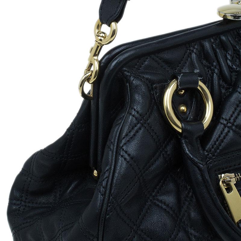 Marc Jacobs Black Quilted Leather Stam Shoulder Bag