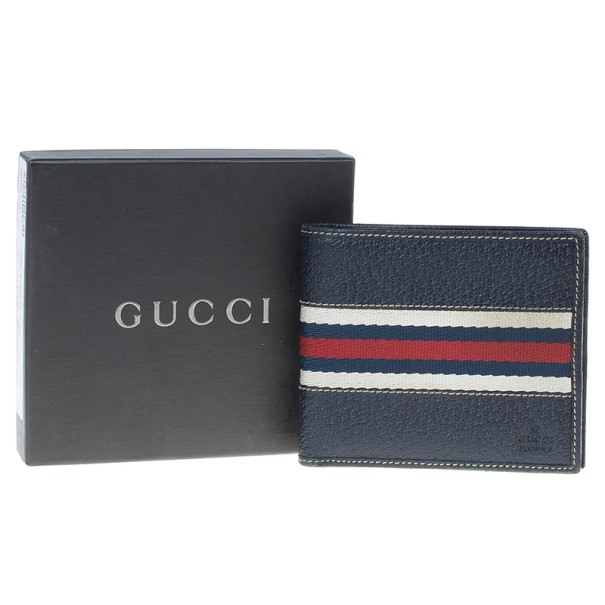 Gucci Signature Web Leather Men Bi-fold Wallet