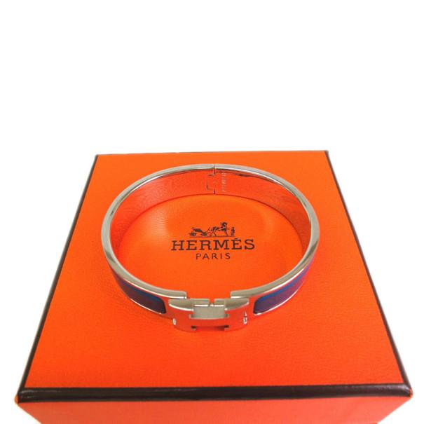Hermes Clic Clac H Blue Enamel Palladium Bracelet PM