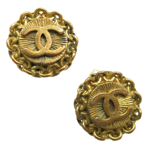 Chanel Vintage CC Gold-Plated Earrings