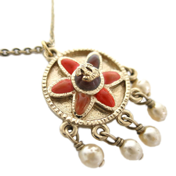 Chanel Flower Motif Enamel Medal Pendant Necklace with Dangling Faux Pearls