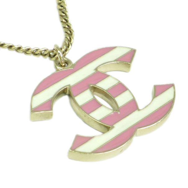 Chanel CC Logo Pink and White Stripes Large Pendant Necklace