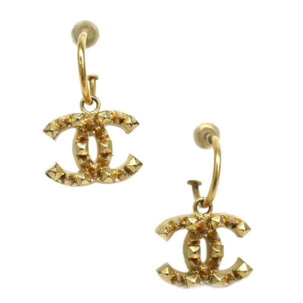 Chanel CC Logo Golden Hoop Earrings