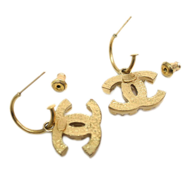 Chanel CC Logo Golden Hoop Earrings