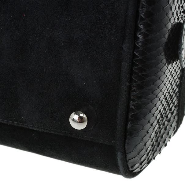 Dior Black Suede and Python Gambler Bag