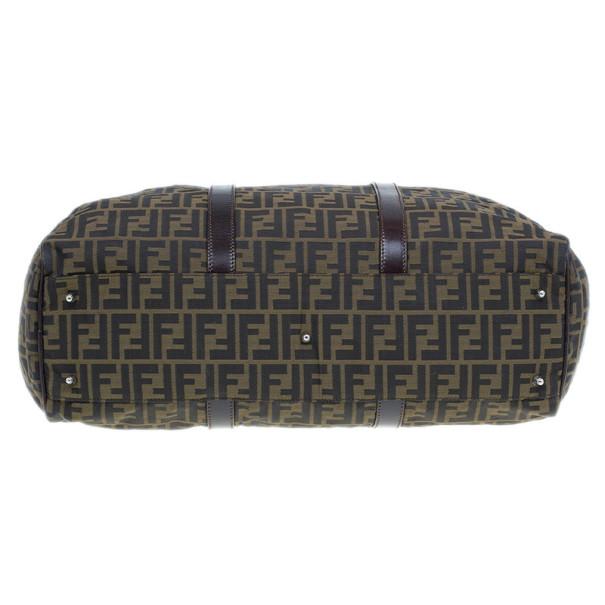 Fendi Tobacco Zucca Leather and Canvas Duffel Bag