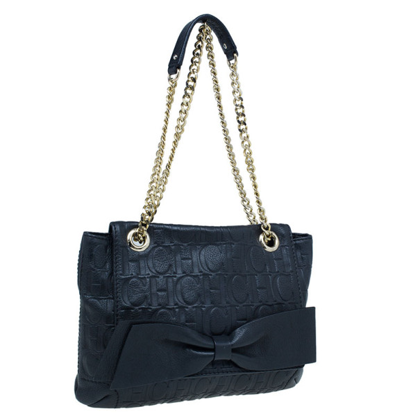 Carolina Herrera Black Leather Audrey Shoulder Bag