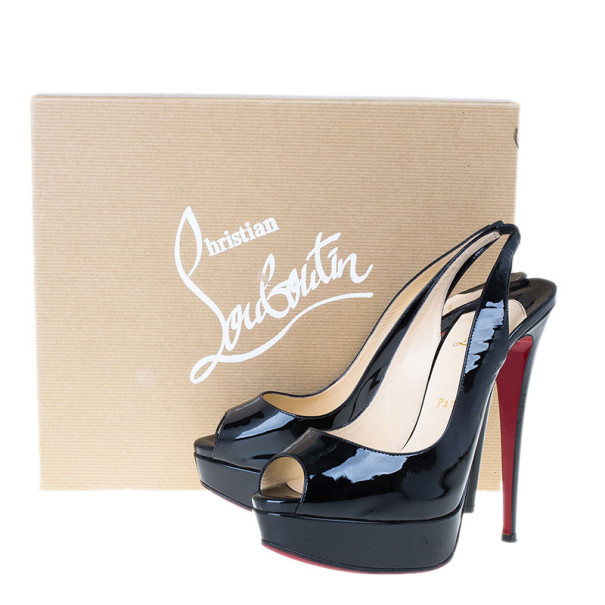 Christian Louboutin Black Patent Lady Peep Slingback Sandals Size 39.5