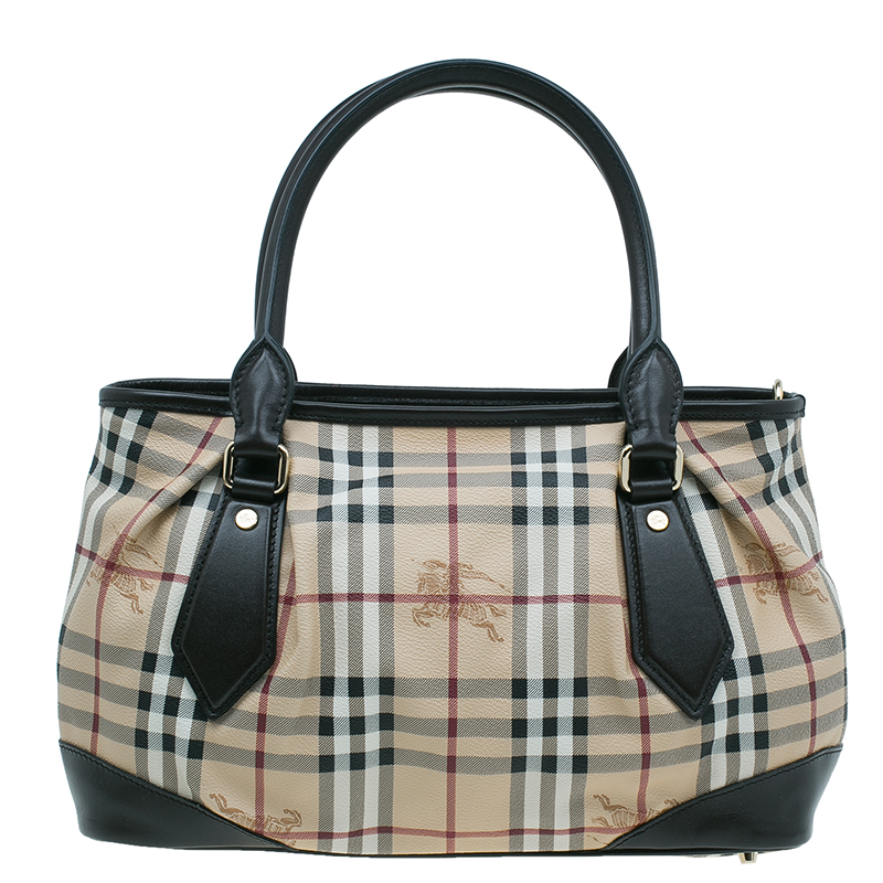 Burberry Beige Haymarket Medium Landscape Heathcliff Tote Bag