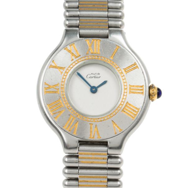 Cartier White Stainless Steel Must de Cartier 21 Women's Wristwatch 27.5MM