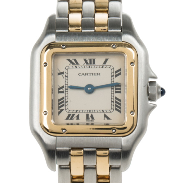Cartier Cream 18K Yellow Gold and Stainless Steel Panthere Women's Wristwatch 22MM