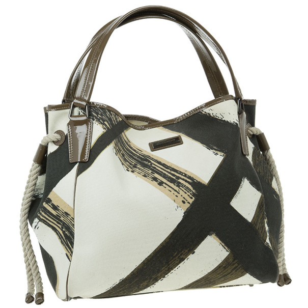 Burberry White Canvas Brushstroke Check Print Shopper