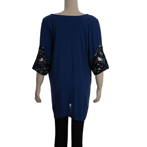 Temperley Navy Embellished Top M