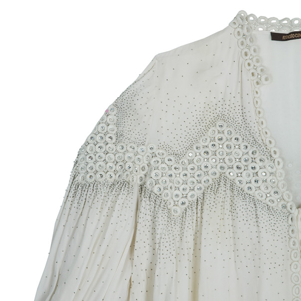 Roberto Cavalli White Embellished Top M