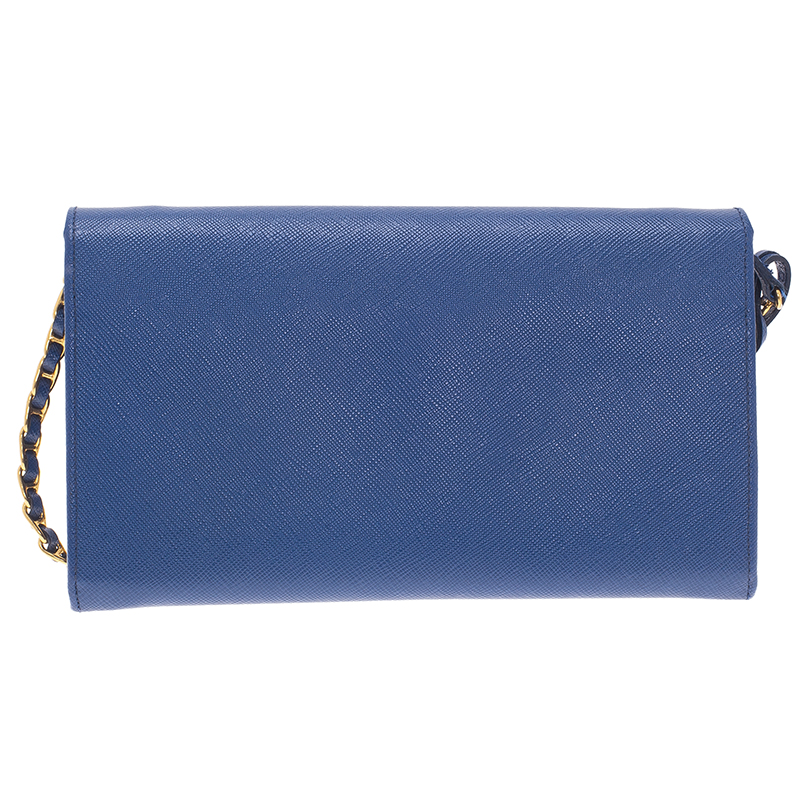 Prada Blue Saffiano Lux Leather Bandoliera Clutch Bag