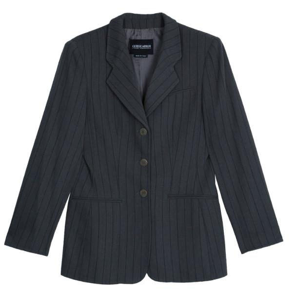 Giorgio Armani Grey Pinstriped Men's Blazer EU46