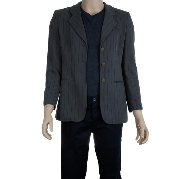 Giorgio Armani Grey Pinstriped Men's Blazer EU46